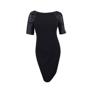 Calvin Klein Women's Sequined-Sleeve Sheath Dress - Black