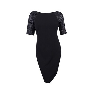 Calvin Klein Women's Sequined-Sleeve Sheath Dress - Black