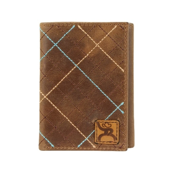 "HOOey Western Wallet Mens Trifold Roughy Signature Brown - 3"" x 3/4"" x 4"""