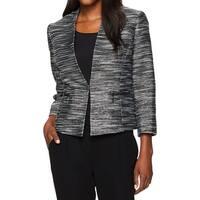 Kasper Black Women's Size 6 Metallic Tweed Flyaway Blazer Jacket