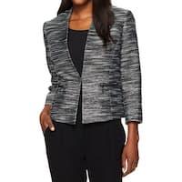 Kasper Peacock Black Womens Size 6 Tweed Kiss Front Metallic Jacket