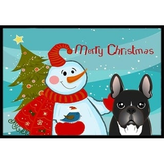 Carolines Treasures BB1847JMAT Snowman With French Bulldog Indoor & Outdoor Mat 24 x 36 in.