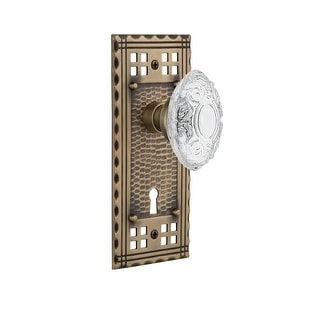 Nostalgic Warehouse CRACVI_DD_KH  Vintage Crystal Victorian Dummy Door Knob Set with Craftsman Rose and Decorative Keyhole