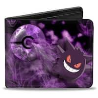 Gengar Pose3 Pok Ball + Pose3 Smoke Black Purples Bi Fold Wallet - One Size Fits most