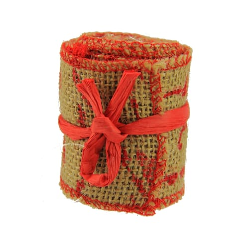 "Country Cabin Red and Dark Beige Scripted Burlap Decorative Christmas Ribbon Garland 2.25"" x 2.2 Yards"