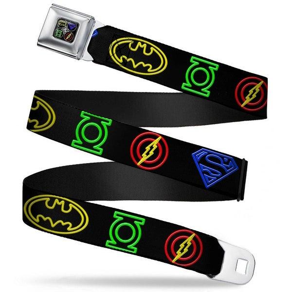 Jl Batman Superman Green Lantern Flash Electric Logos Full Color Black Seatbelt Belt