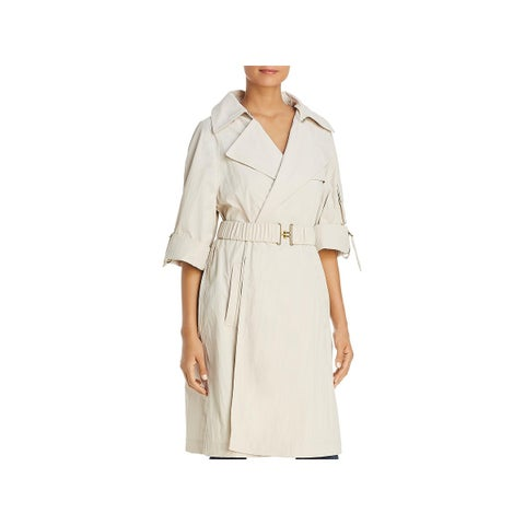 Donna Karan Womens Trench Coat Spring Adjustable Sleeve