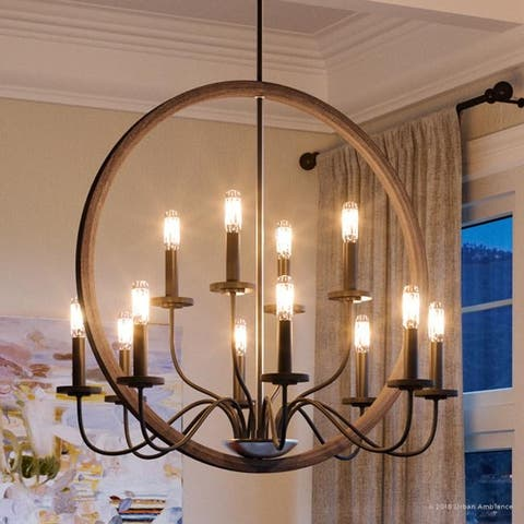 """Luxury Modern Farmhouse Chandelier, 28.75""""H x 32""""W, with English Country Style, Olde Bronze Finish by Urban Ambiance"""