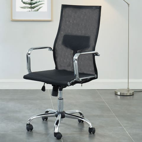 Furniture of America Form Contemporary Fabric Home Office Chair, Black
