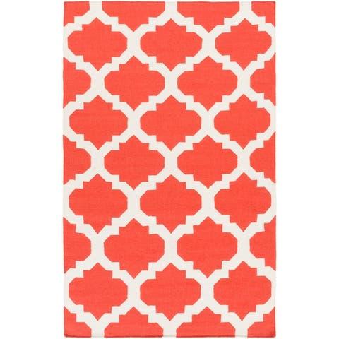 Hand-Woven Elizabeth Moroccan Trellis Reversible Flatweave Wool Area Rug