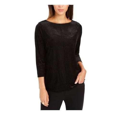 CHARTER CLUB Womens Black Velvet 3/4 Sleeve Jewel Neck Top Size XS