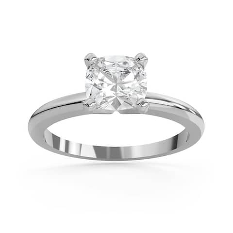 2 CT Moissanite Pillion Classic Cushion Cut Solitaire Ring in 14K Gold
