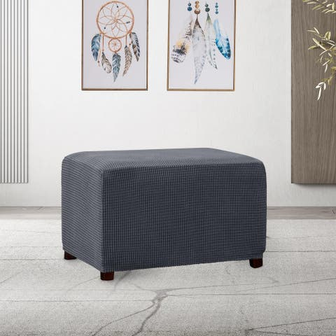Subrtex Stretch Ottoman Slipcover Jacquard Rectangular Footstool Cover