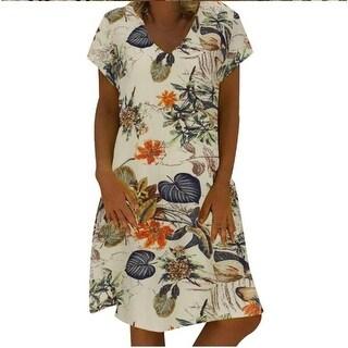 Link to Cotton Linen Printed Short Sleeve V-Neck Dress Similar Items in Dresses