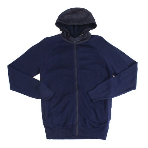 Barbour Mens Sweater Navy Blue Size XL Zip Front Rampside Hooded