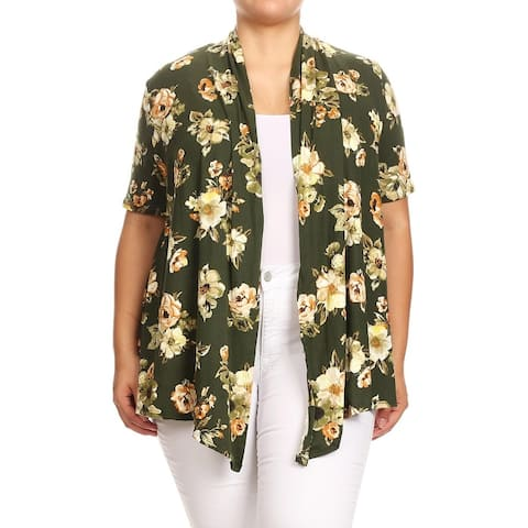 Women's Casual Pattern Plus Size Loose Fit Sweater Outerwear Cardigan