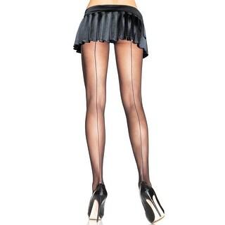 Plus Size Back Seam Pantyhose - Black - 1x