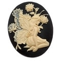 Lucite Oval Cameo - Black With Ivory Fairy And Flowers 40x30mm (1 Piece) - Thumbnail 0