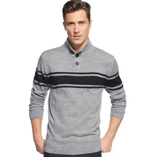 Weatherproof Chest Striped Mock Neck Sweater Gray Marl and Black X-Large