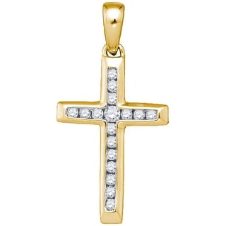 Cross Pendant Small 10k Yellow Gold With Diamonds 0.125Ctw By MidwestJewellery - White