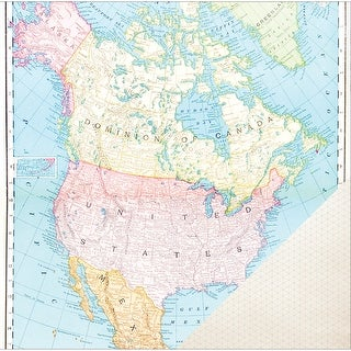 "American Crafts Travel Double-Sided Cardstock 12""X12""-North American Map"