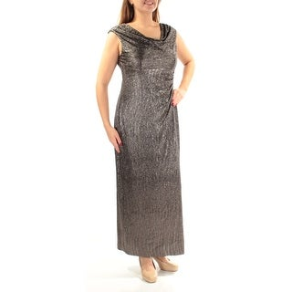 Womens Silver Cap Sleeve Full Length Sheath Party Dress Size: 12