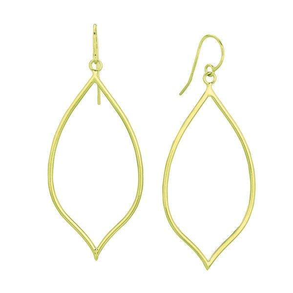 Mcs Jewelry Inc 14 KARAT YELLOW GOLD TUBED OVAL TEARDROP DANGLING EARRINGS
