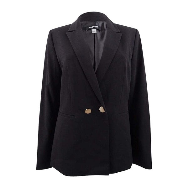 Nine West Womens Solid Double Breasted Blazer Jacket, black, 12. Opens flyout.
