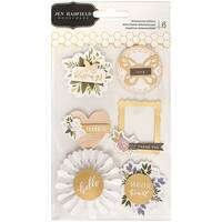 "Jen Hadfield Heart Of Home Dimensional Stickers 4""X6""-W/Gold Foil Accents"