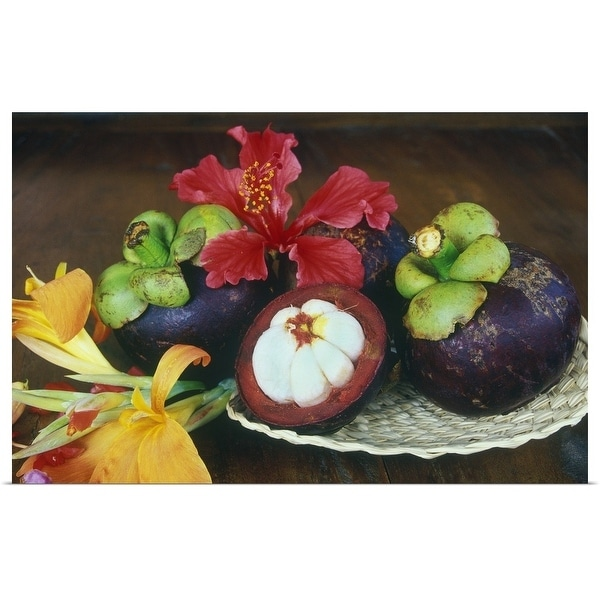 """Mangosteen fruit with tropical flowers"" Poster Print"