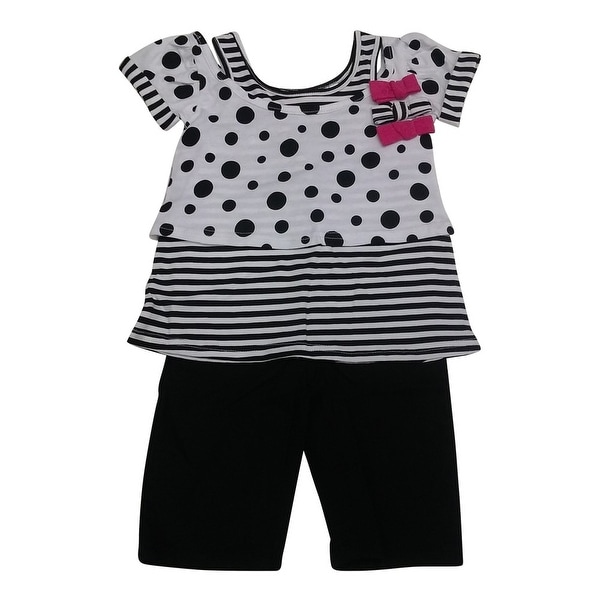 American Character Baby Girls Black White Dot Stripe 2Pc Capri Set 12-24M