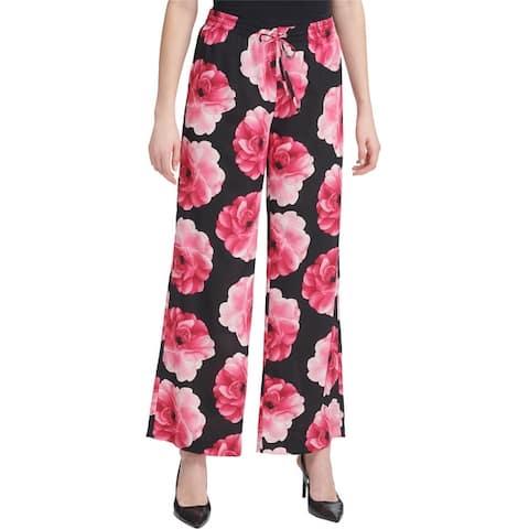 Calvin Klein Womens Floral Casual Wide Leg Pants