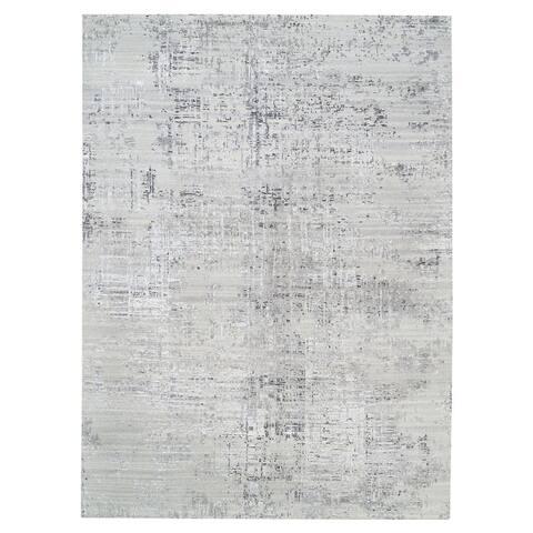 "Shahbanu Rugs Hand Knotted Hand Spun Undyed Natural Wool Modern Light Gray Oriental Rug (10'0"" x 13'10"") - 10'0"" x 13'10"""