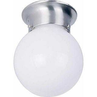 "Volume Lighting V7309 1 Light 6"" Flush Mount Ceiling Fixture with White Opal Glass Globe Shade"