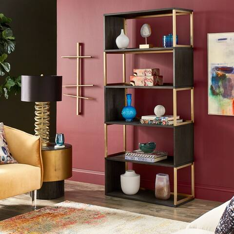 Cantey Black and Gold Metal Bookcase by iNSPIRE Q Bold