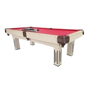 8' x 4.3' Beige, Brown and Red Billiard and Pool Game Table