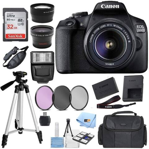 Canon EOS 2000D Digital SLR Camera w/ 18-55MM DC III Lens Kit (Black) with Accessory Bundle, Package Includes:...