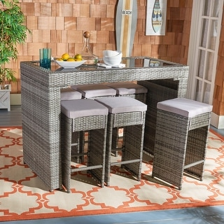 Shop Safavieh Outdoor Living Lodi Grey Wash/Beige Tea Cart ... on Safavieh Outdoor Living Montez 4 Piece Set id=67252