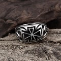 Vienna Jewelry Medium Cross Emblem Stainless Steel Ring - Thumbnail 2