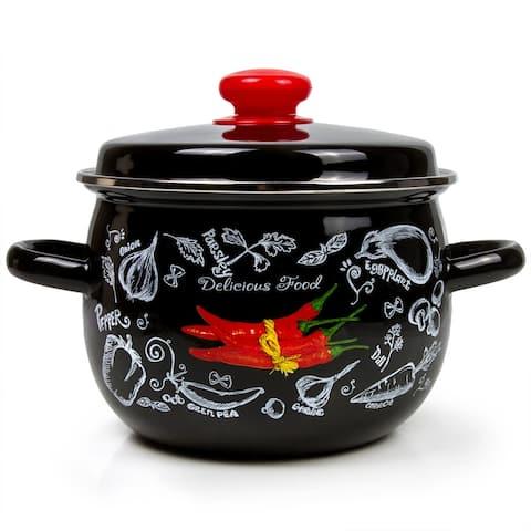 STP Goods 5.3-qt Spicy Pepper Black Enamel on Steel Pot