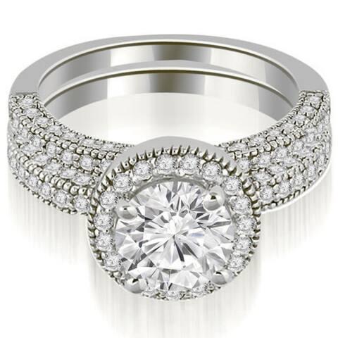 1.70 CT Single Halo Round Cut Diamond Matching Bridal Set in 14KT Gold - White H-I