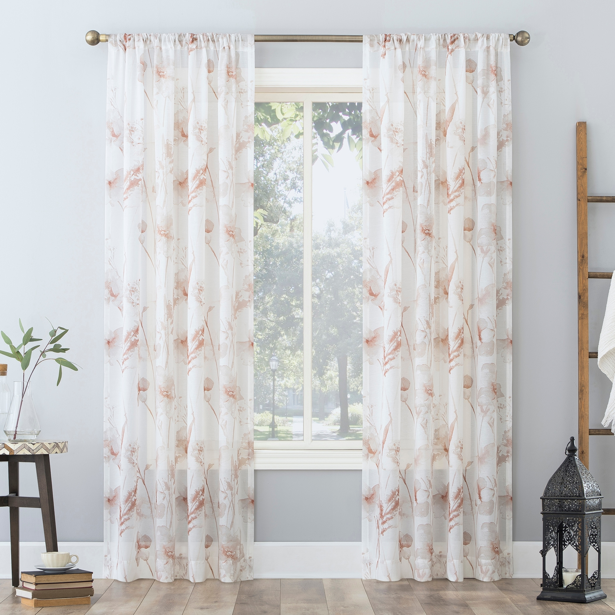 Shop For No 918 Sura Floral Watercolor Sheer Rod Pocket Curtain Panel Get Free Delivery On Everything At Overstock Your Online Home Decor Outlet Store Get 5 In Rewards With Club O 32809861