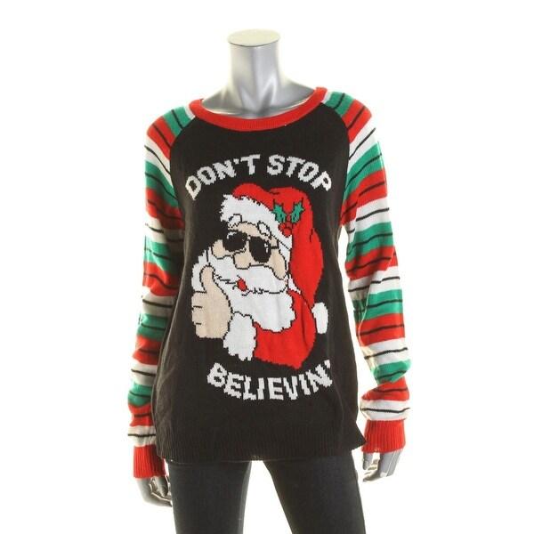 Shop Eyeshadow Womens Juniors Crewneck Sweater Knit Ribbed Trim L