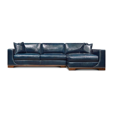Cassidy Full Grain Leather Sectional with Chaise, Blue Moon