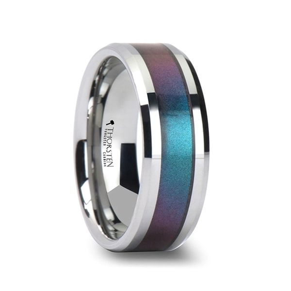 THORSTEN - STINGRAY Tungsten Carbide Ring with Blue/Purple Color Changing Inlay