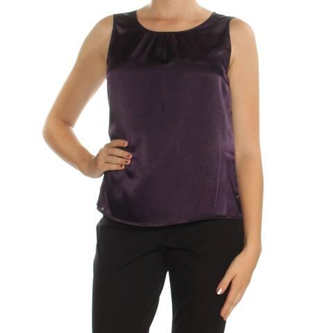 LE SUIT Womens Purple Sleeveless Jewel Neck Top Size 8