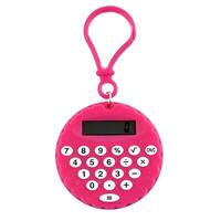 Plastic Biscuit Shape Portable LCD Display 8 Digits Calculator Key Chain Pink