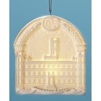 "4.25"" LED Downtown Abbey Highclere Castle Porcelain Christmas Ornament - WHITE"