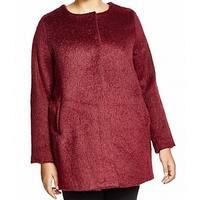 BB Dakota Burgundy Red Womens Size 1X Plus Collarless Solid Coat