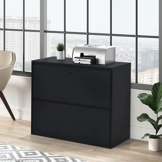 SuperBrite Home Office 2-Drawer Lateral File Cabinet with lock for letter/legal size files, Black